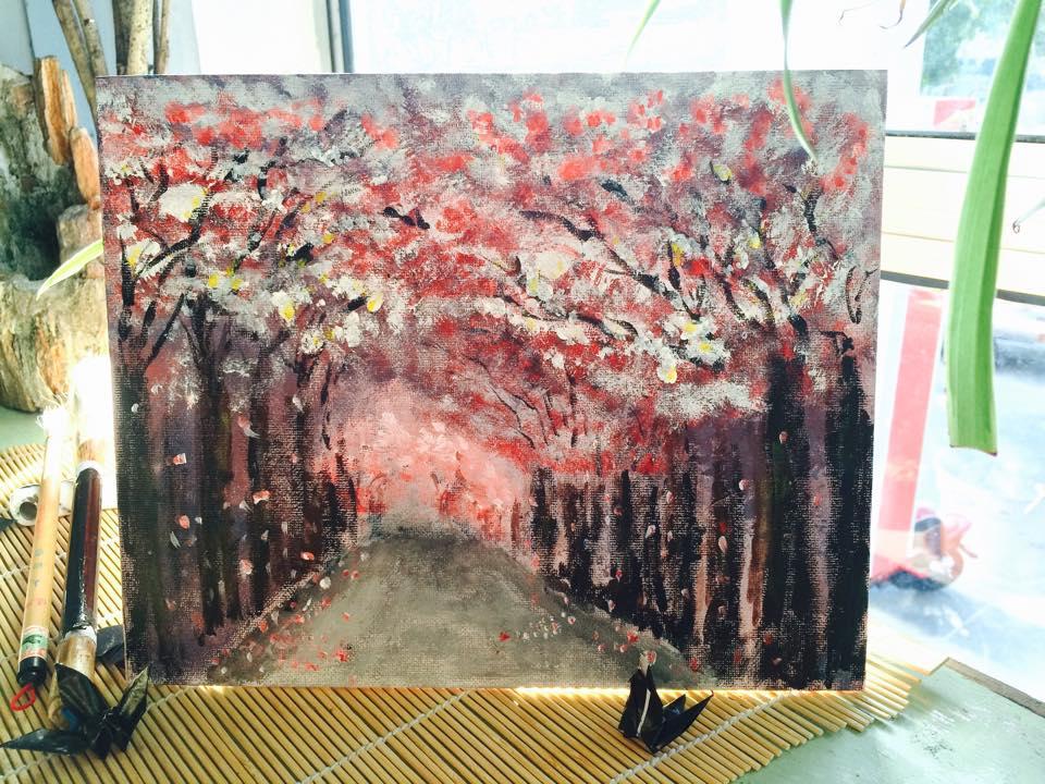 在寿司厨房彩绘的花朵绽放图