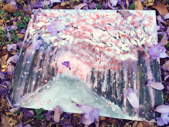 翩翩掉落的紫色花瓣, Arcylic Paint, Flower blossom